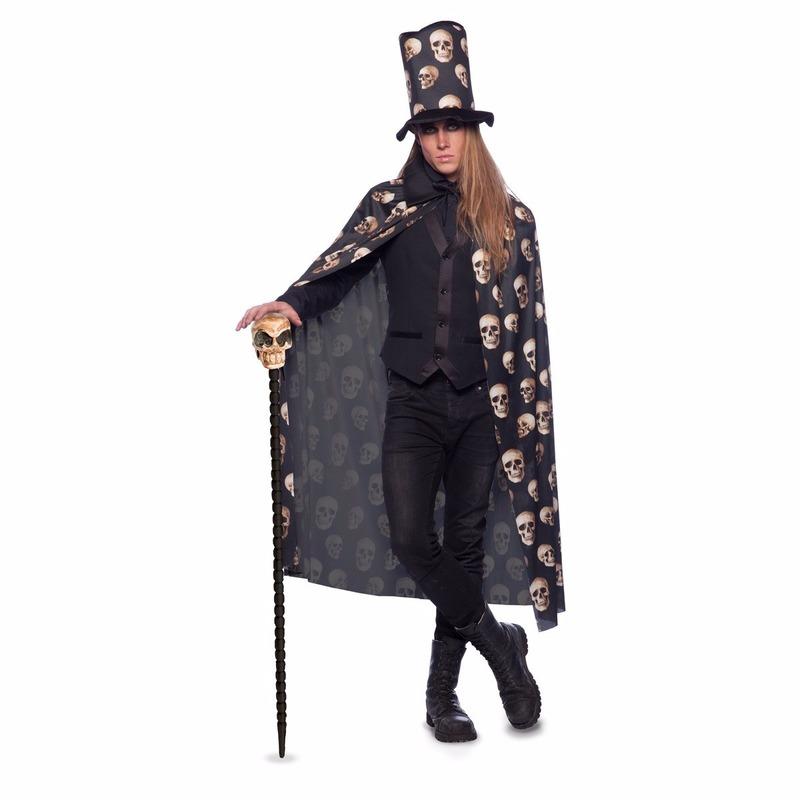 Zwarte cape met hoge hoed voor volwassenen