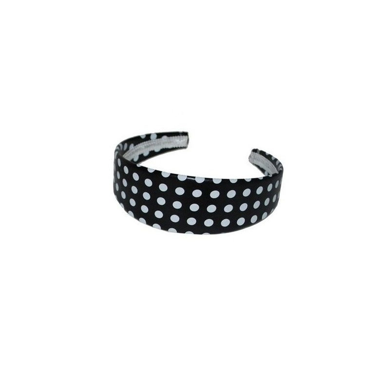 Zwarte diadeem/haarband met witte stippen