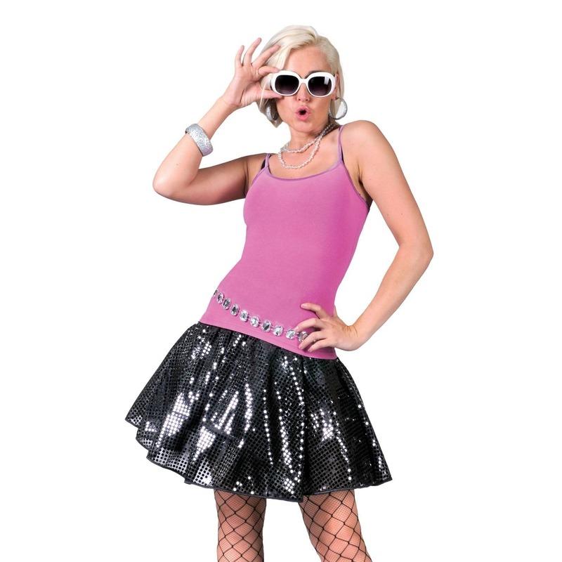 Zwarte disco seventies verkleed rok voor dames