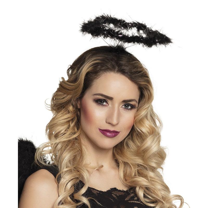 Zwarte engel verkleed diadeem/tiara met halo