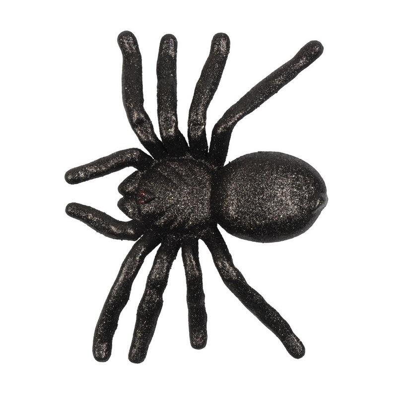 Zwarte grote halloween decoratie spin met glitters