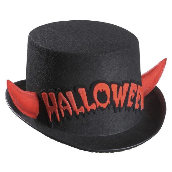 Zwarte hoge hoed Halloween met rode duivel hoorns