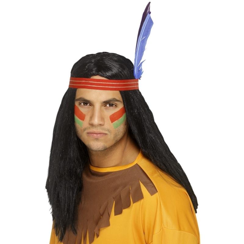 Zwarte indianen pruik met hoofdband voor volwassenen