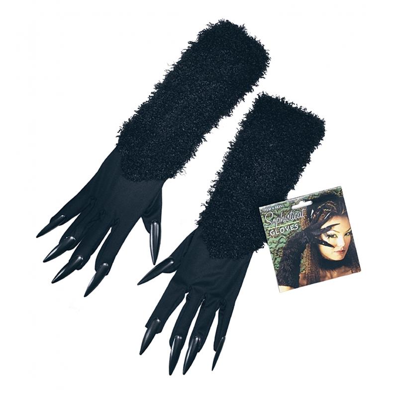 Zwarte kat handschoenen met nagels