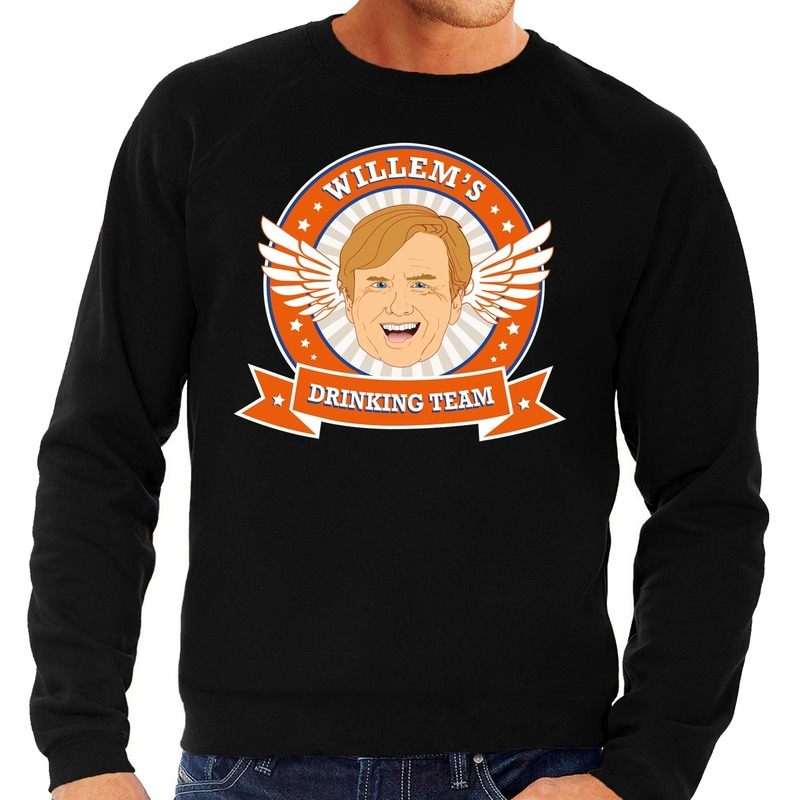 Zwarte Koningsdag Willem drinking team sweater heren