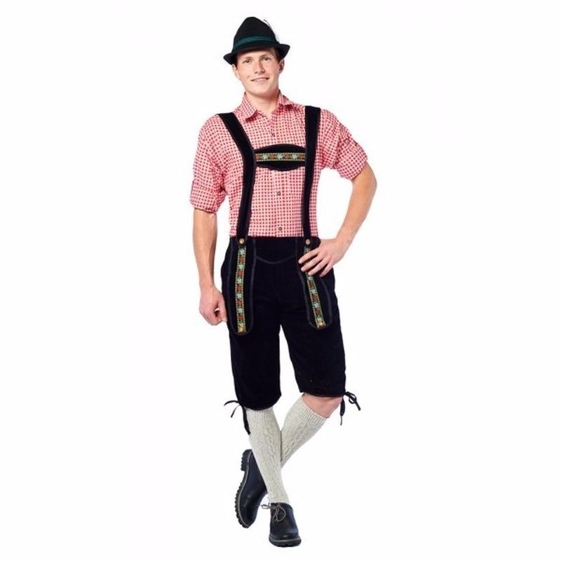 Zwarte lange Tiroler lederhosen verkleed kostuum voor heren