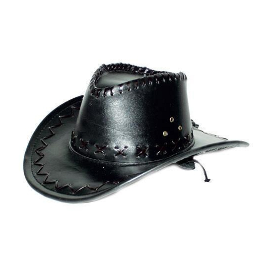 Zwarte lederlook cowboyhoed