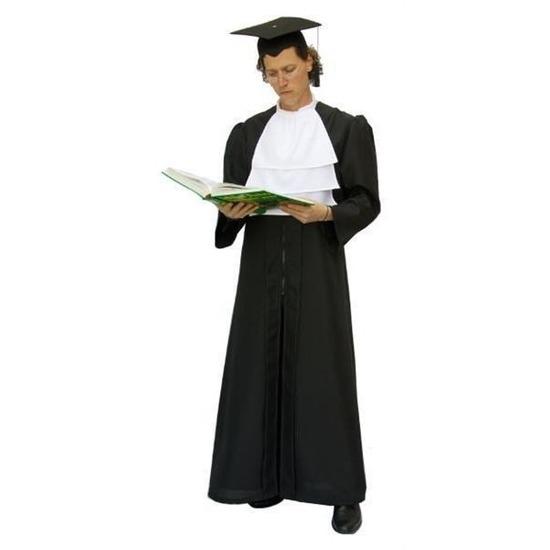 Zwarte rechters toga met witte jabot