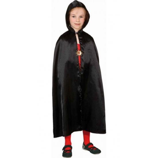 Zwarte satijnen cape voor kinderen