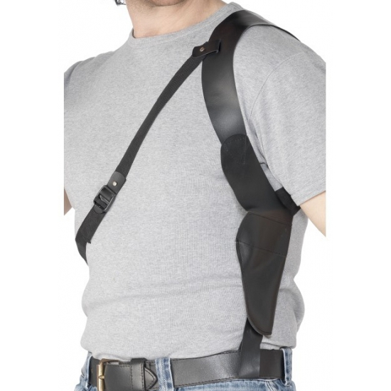 Zwarte schouder holster leder look