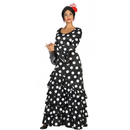 Zwarte Spaanse jurk met stippen