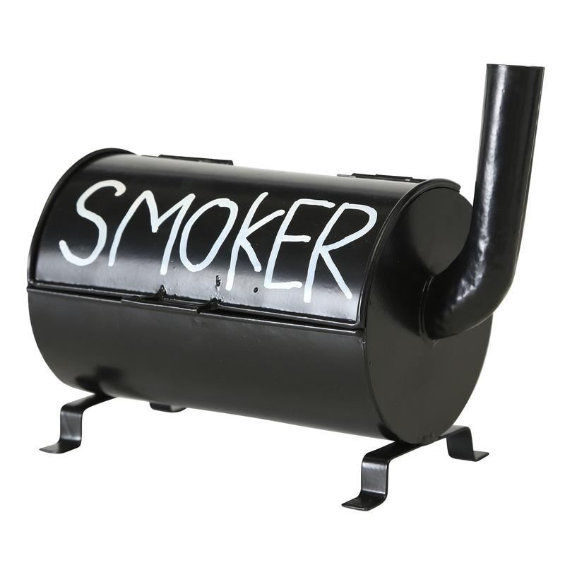 Zwarte terras asbak Smoker 20 cm