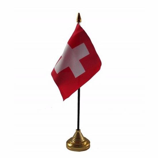 Zwitserland tafelvlaggetje 10 x 15 cm met standaard