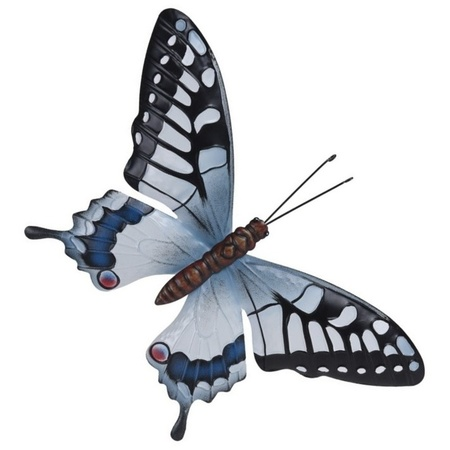 Tuin Schutting Decoratie Grijsblauw Zwarte Vlinder 44 Cm Vlinders Artikelen Bellatio Warenhuis